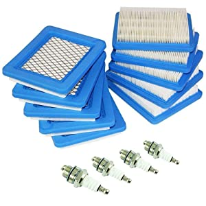 TOPEMAI 491588S Air Filter(10 Pack) Replace for Briggs Stratton 491588 4915885 399959 Equipped with Spark Plug