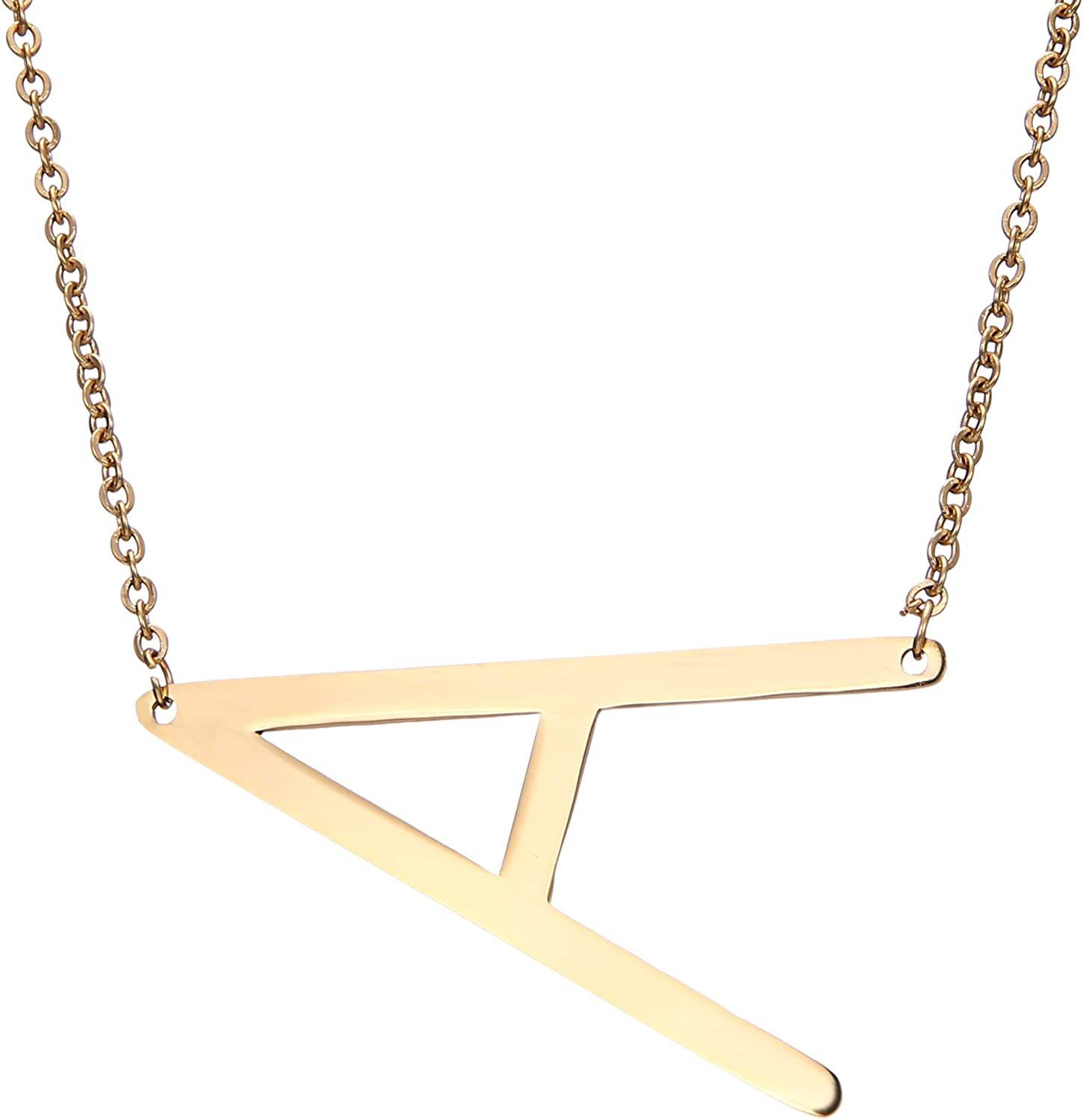MEMGIFT Big Letter Necklace Stainless Steel Initial Pendant Best Friends Jewelry for Girls Women Her Wedding Birthday Christmas