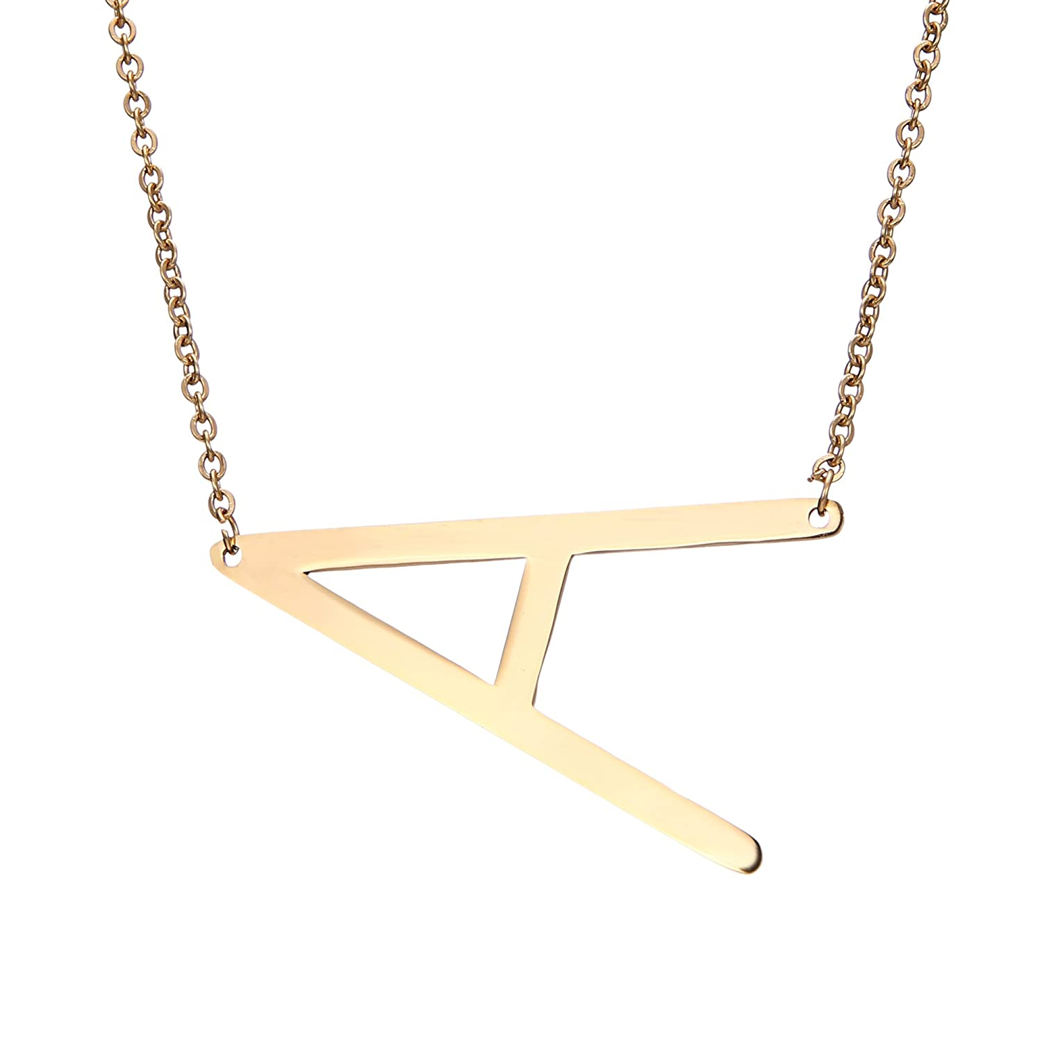 4eab2dbf5260 RINHOO Sideways Large Initial Necklace Gold Big Letter Script Name  Stainless Steel Pendant Monogram Necklace for Women Gift(from Alphabet 26  A-Z)
