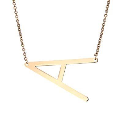 a087c847f0 RINHOO Sideways Large Initial Necklace Gold Big Letter Script Name  Stainless Steel Pendant Monogram Necklace for Women Gift(from Alphabet 26  AZ)