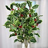 Factory Direct Craft Festive Mixed Artificial Holly Leaf and Red Berry Bush for Holiday and Home Decor