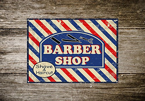Cartel de Metal con Diseño de Barber Shop, Cartel de ...