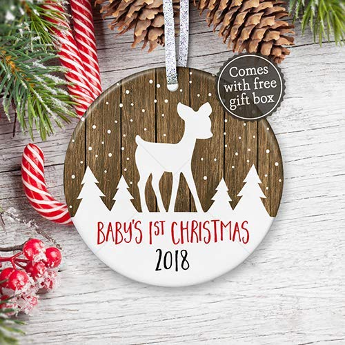 Christmas Gifts For New Parents.Baby S First Christmas Ornament 2018 Rustic Baby Shower Gift For New Baby New Parents 2018 Gender Neutral Baby Keepsake 3 Flat Ceramic Ornament