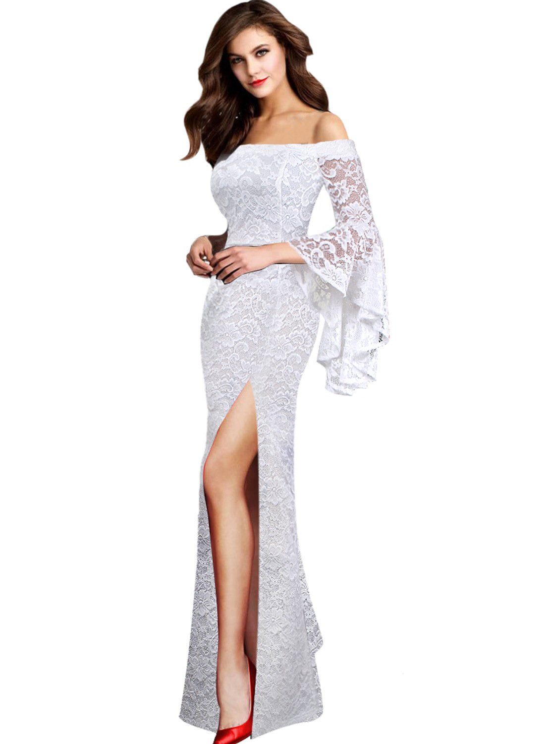 VFSHOW Womens Floral Lace Off Shoulder Bell Sleeve Formal Wedding Maxi Dress 002 WHT L by VFSHOW