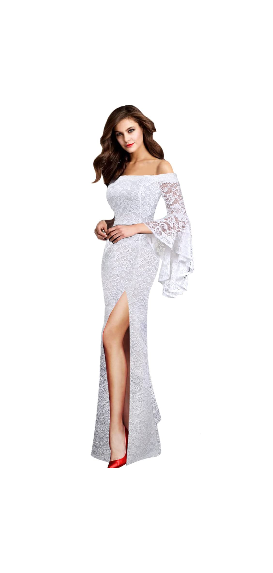Womens Off Shoulder Bell Sleeve High Slit Formal Evening