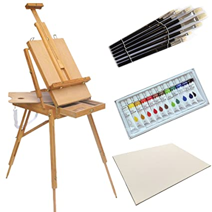 Amazon Com French Easel Oil Paint Set Wooden Sketch Box Art