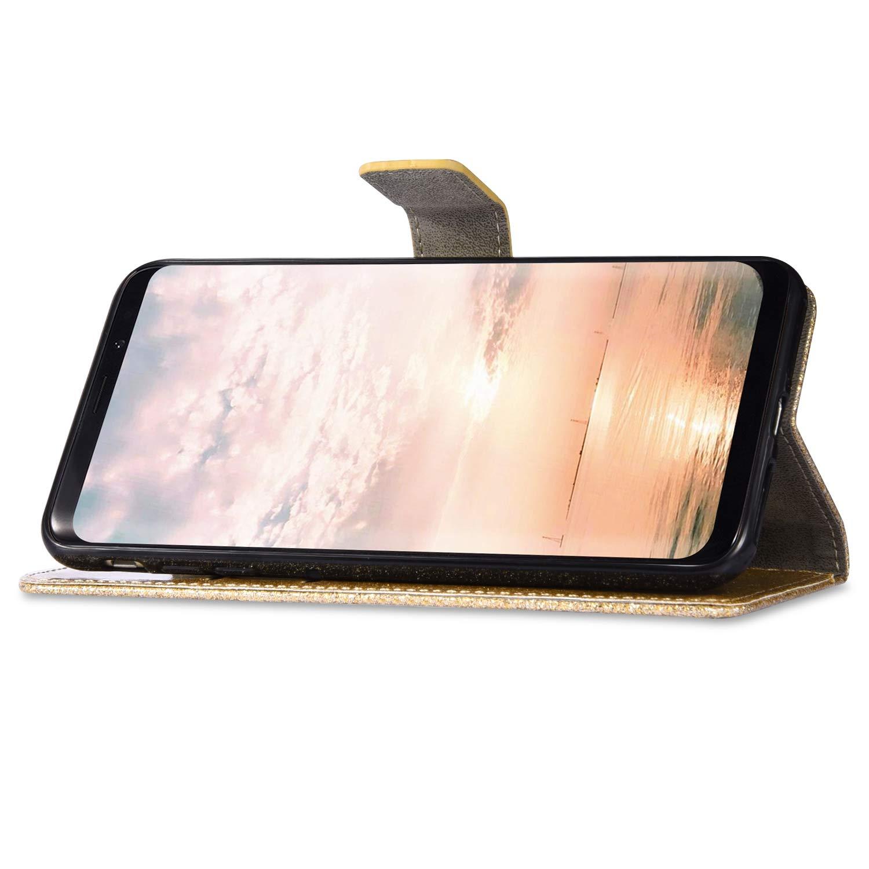 Surakey Cover Compatibile con Xiaomi Redmi Note 7 Custodia Flip PU Pelle Glitter Bling Strass Case Libro Portafoglio Cover con Supporto Porte Carte Anti-Scratch Custodia per Xiaomi Redmi Note 7,Viola