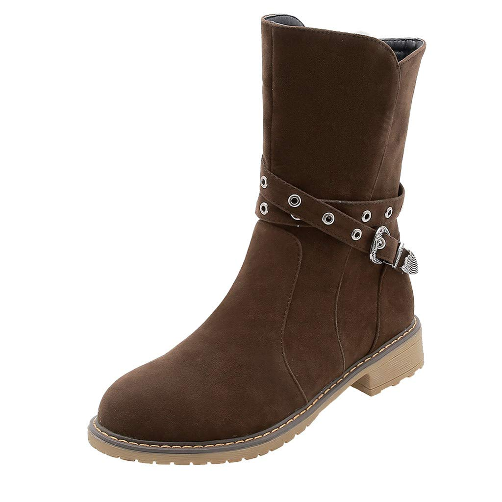 Women's Wide Width Mid Calf Boot | Ladies Comfortable Closed Round Toe Fashion Buckle Strap Suede Booties Size Zip Short Shoes by Leadmall-Boot