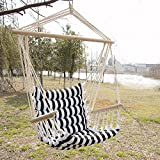 Sliverylake Indoor/Outdoor Porch Swing Hanging Rope Padded Cotton Quilted Hammock Chair Patio Seating