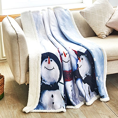 Snowman Sherpa Throw Blanket