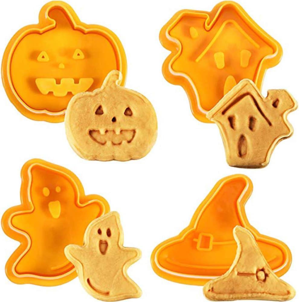 4 moldes para galletas de Halloween con diseño de casita encantada, sombrero de bruja, fantasma y calabaza