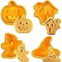 Kylewo 4Pcs Tagliabiscotti di Halloween Biscotti Biscotti Bakeware Fondente Biscotti Tagliapasta Set con Push