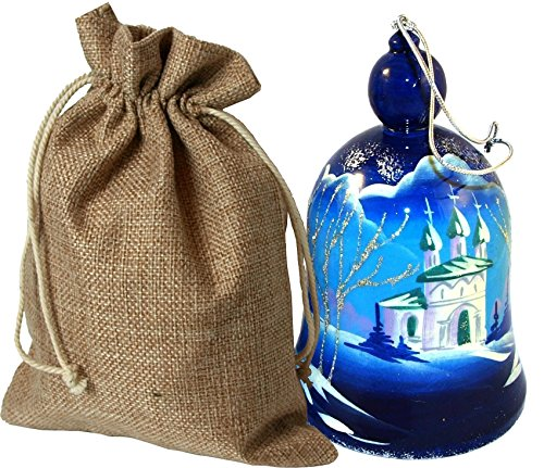 [Hand-painted Wooden Bell in a jute sack - Russian Architectural Ornaments Big Bell - Christmas Tree Ornament - Each item Unique – Winter Landscape with Russian Churches - 4