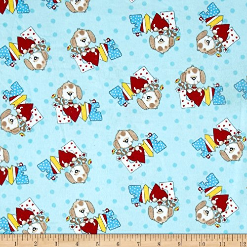 (A.E. Nathan Comfy Flannel Love Dog Blue Fabric by The Yard, Blue)