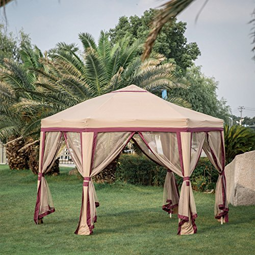 Cheap  Kinbor 12'x 8'Outdoor Gazebo Patio Iron Canopy Garden Backyard Tent with Mesh..