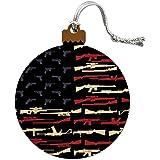 American Gun Flag USA Second 2nd Amendment Wood Christmas Tree Holiday Ornament