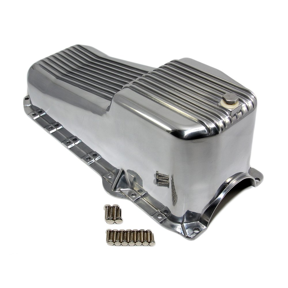 Assault Racing Products A8444 Small Block Chevy Finned Polished Aluminum Oil Pan 1pc Rear Main SBC 305 350 5.0L 5.7L Vortec