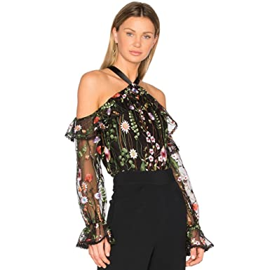 1abe045c75b Romacci Sexy Women Sheer Top Floral Embroidery Blouse Off Shoulder S-L,Black