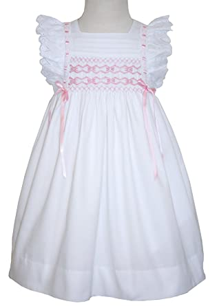 Amazon.com: Baby Girls Hand Smocked Pinafore Dress in White Cotton ...