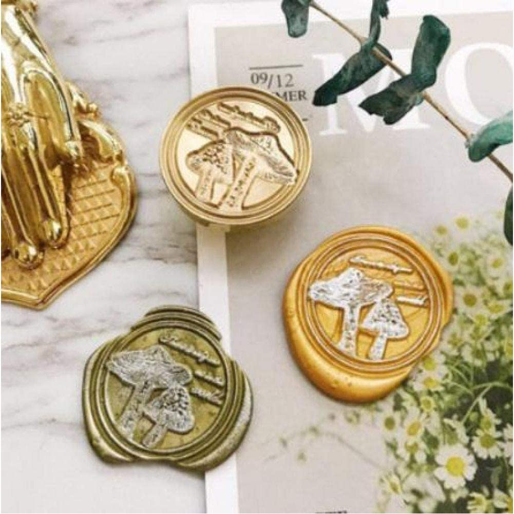 SDFDF Forest Mushroom Ginkgo Plant Leaf Deer World Travel Dragonfly Whale Horse Swallow Butterfly Stamp Wood Handle Wax Sealing Stamp