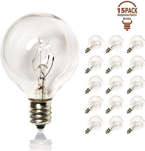 1.5-Inch Pack of 25 Clear Globe G40 Screw Base Light Bulbs