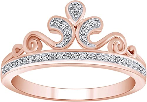 Mother/'s Day 0.10 cttw Round Natural Diamond Anniversary Band Ring 10k Gold