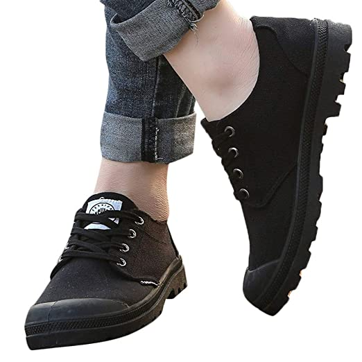 17327f99f3ed Amazon.com: Canvas Shoes for Men - POHOK Men's Casual Low-Top Lace ...