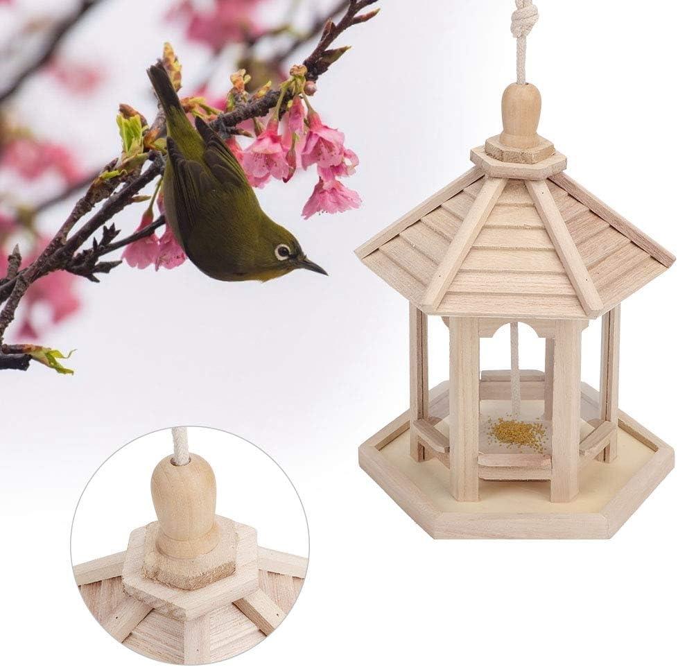 Meiyya Casa del comedero para pájaros, plástico Duradero de Madera al Aire Libre, Colgante, comedero para pájaros Transparente, Caja para Alimentos, Suministros para Mascotas