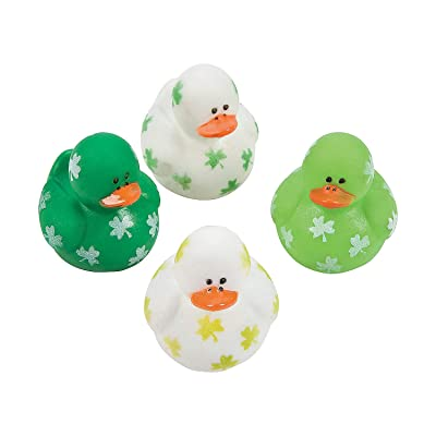 Fun Express Mini Shamrock Rubber Duckies (Set of 24) St. Patrick's Day Toys and Party Favors: Toys & Games