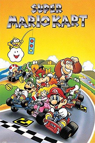 Super Mario Kart - Retro Poster Print (24 x 36) (Mario Luigi Peach Daisy)