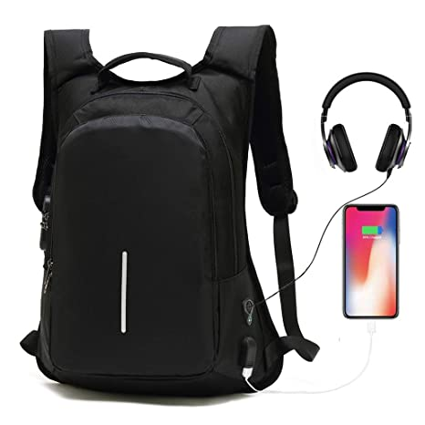 Anti-Theft Smart Travel Backpack with USB Charging Port   Headphone  Hole