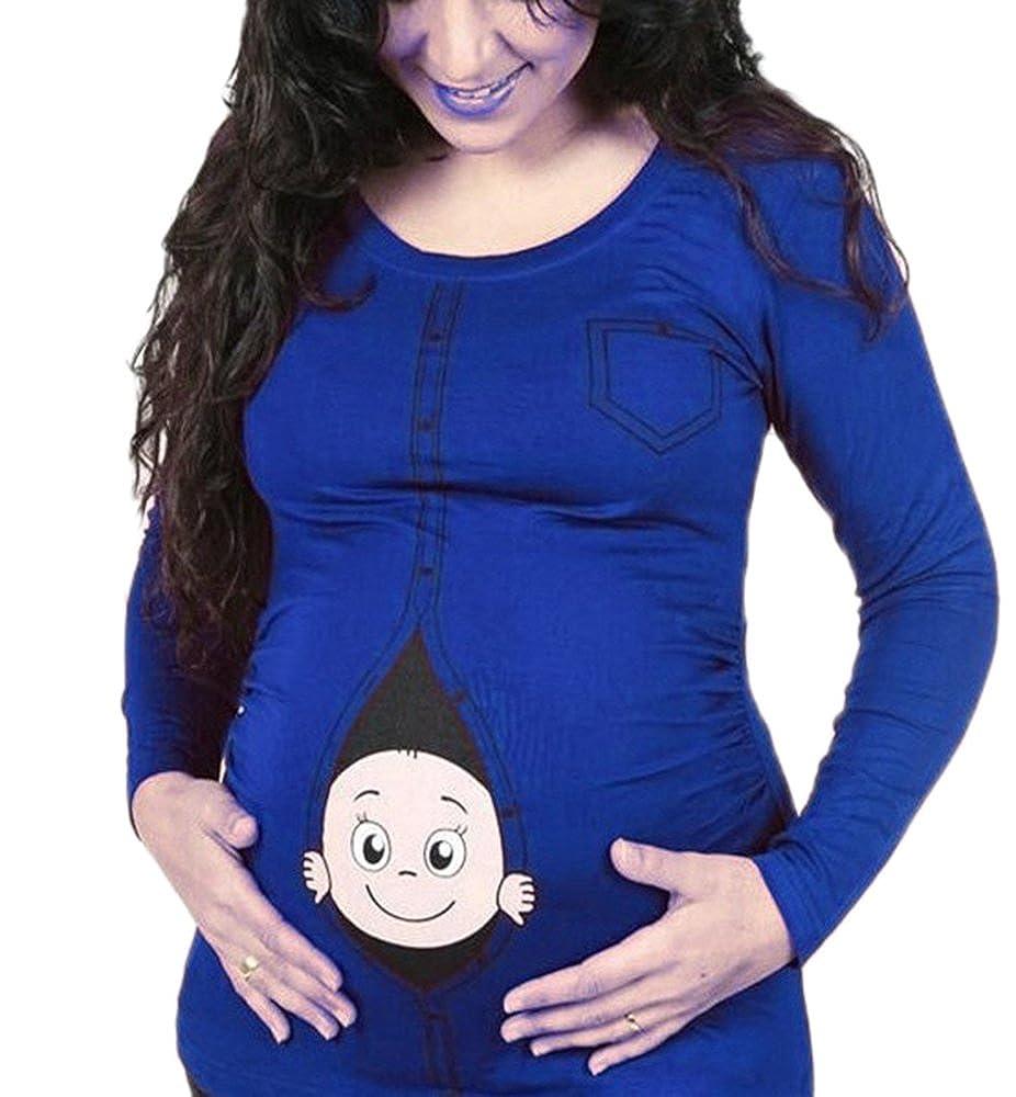 Keephen T-Shirt drôle de maternité, Humour Mignon bébé furtivement T-Shirt à Manches Longues de Femmes Enceintes