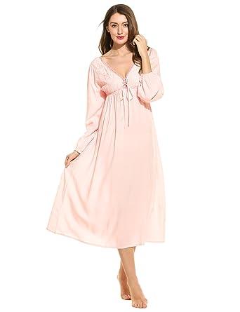 955188e058 Ekouaer Women Vintage Nightdress Victorian Cotton Nightgown Lace Long  Nightwear  Amazon.co.uk  Clothing