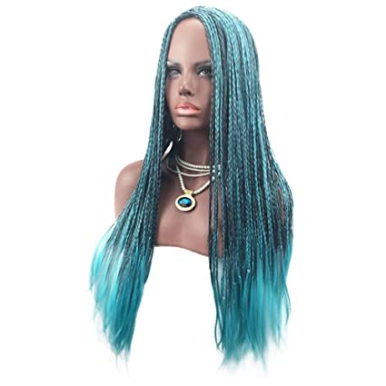 Starall Peluca trenzada de pelo sintético para mujer, color azul, larga, a la