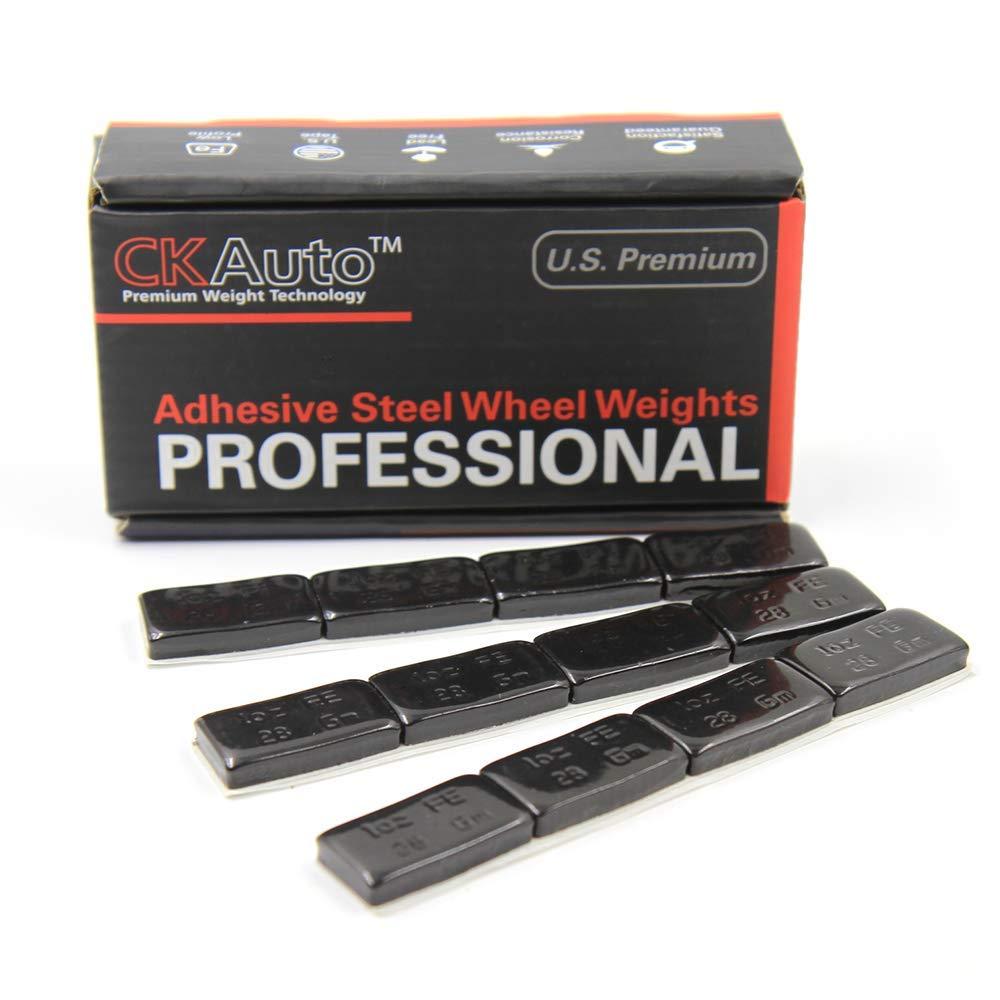 CK Auto 1oz, Black, Adhesive Stick on Wheel Weights,EasyPeel Tape.Low Profile, 72 oz/Box, US Quality, (72pcs)