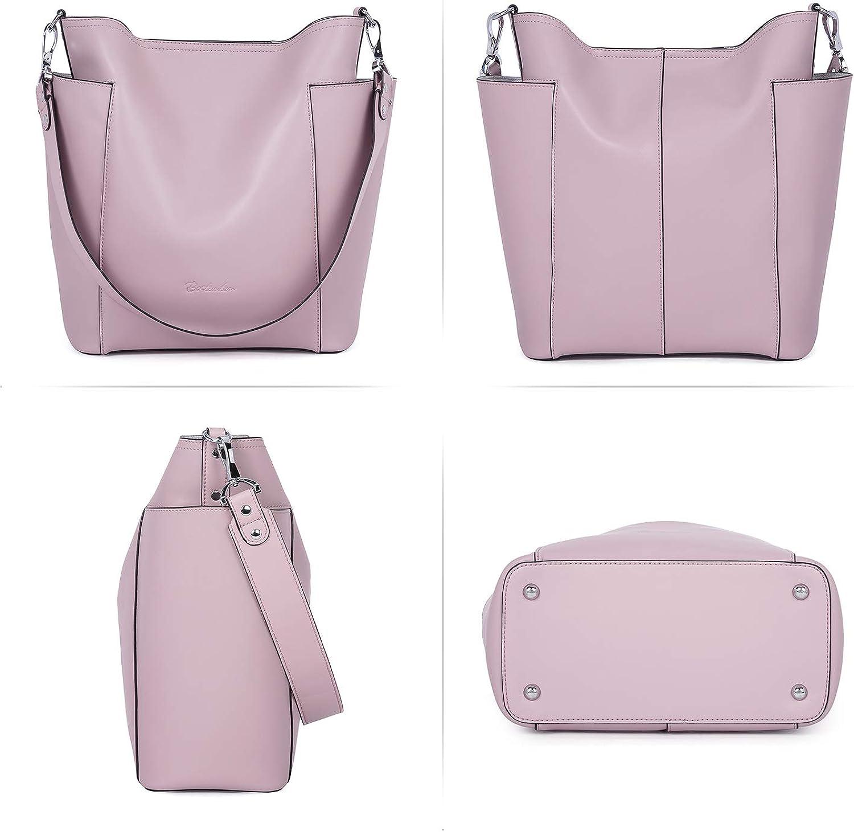 BOSTANTEN Genuine Leather Bucket Handbag Designer Hobo Shoulder Bags Tote Purses and Handbags Set with Clutch Purses