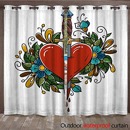 Outdoor Ultraviolet Protective Curtains Red Heart Decorated with Flowers Pierced with Dagger Tatoo Dagger Piercing Heart with Dripping Blood Love Old School W96 x ()