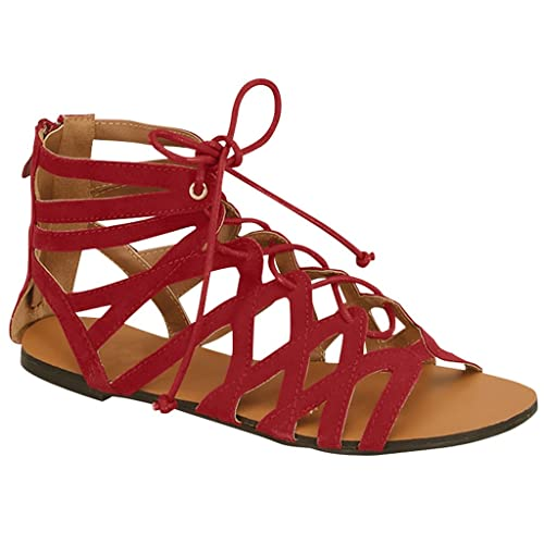 Womens Summer Gladiator Ankle Strappy Lace Up Sandal Flat (Red Faux Suede)