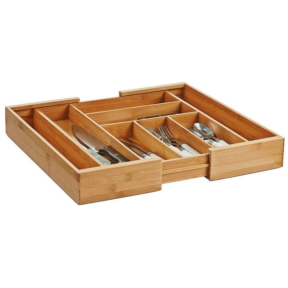 ausziehbar Zeller 25277 Besteckkasten Bamboo 35-58 x 43 x 6,5 cm