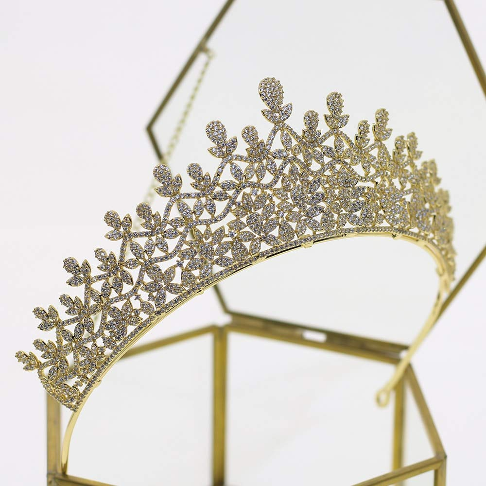 European Retro Gold Headdress Bride Bridesmaid Crown Tiara Diadem Wedding Crown Tiara Crystal Hair Ornaments Reflect Full