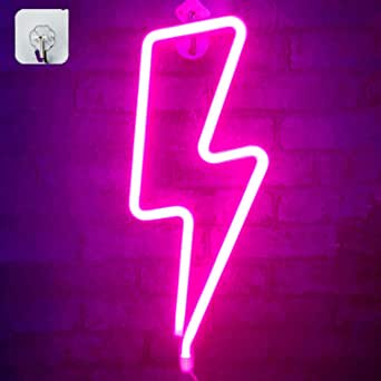 Pink Neon Light Lightning Signs Wall Decor - LED Night Lights Room Decor,Battery and USB Operated Bedside Lamps Home Decoration for Living Room,Children's Bedroom,Party,Christmas&Birthday Gift