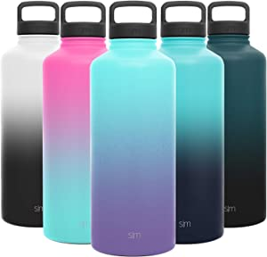 Simple Modern 84 Ounce Summit Water Bottle - Large Stainless Steel Half Gallon Flask +2 Lids - Wide Mouth Double Wall Vacuum Insulated Multi Leakproof Ombre: Tropical Seas