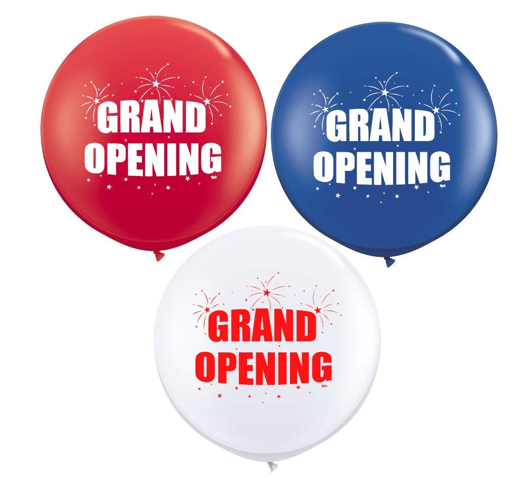 Grand Opening (3ct) Giant 36'' Latex Balloons - for Event Use | Fill with Air or Helium by Party Zone (Image #1)