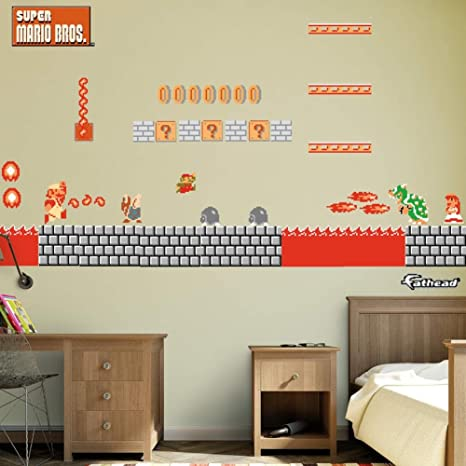 FATHEAD NES Super Mario Bros.: Bowser\'s Castle Room Theme-Large Officially  Licensed Nintendo Removable Graphics Wall Decal