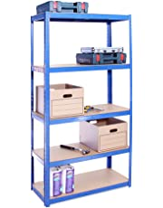 180cm x 90cm x 40cm, Blue 5 Tier (175KG Per Shelf), 875KG Capacity Garage Shed Storage Shelving Units, 5 Year Warranty