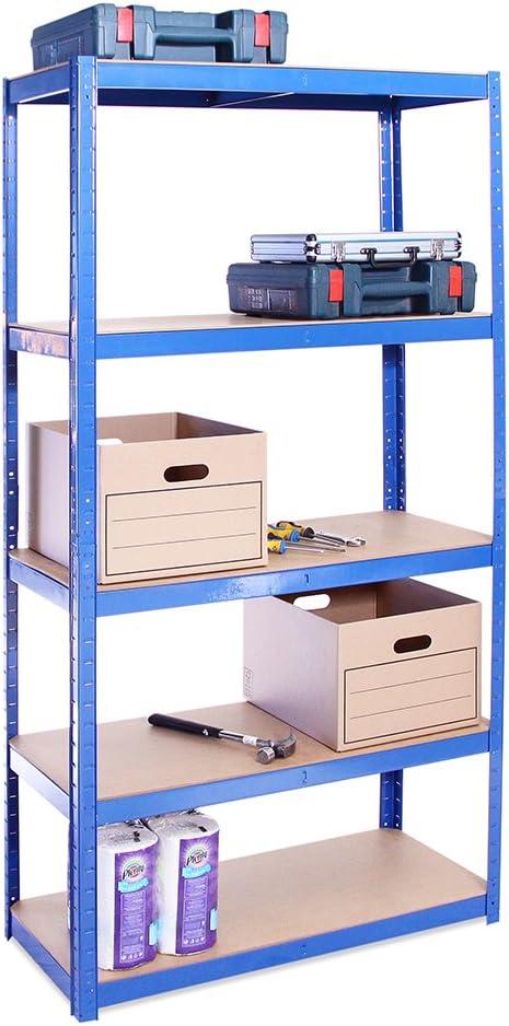 Garage Shelving Units: 180cm x 90cm x 40cm | Heavy Duty Racking Shelves for Storage - 1 Bay, Blue 5 Tier (175KG Per Shelf), 875KG Capacity | For Workshop, Shed, Office | 5 Year Warranty