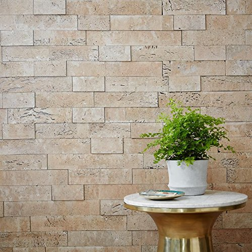 Muratto Rustic Cork Bricks Natural Cork Wall Covering, Ivory