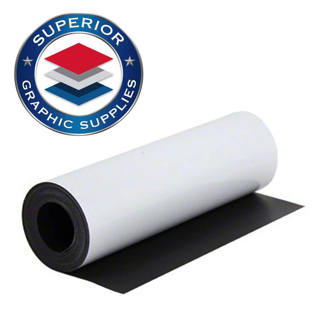Superior Graphic Supplies Magnetic White Material - Flexible Magnetic Sheet Roll (24 Inches X 60 Inches) | 30 Mil - Matte White - 1 Roll by Superior Graphic Supplies (Image #1)