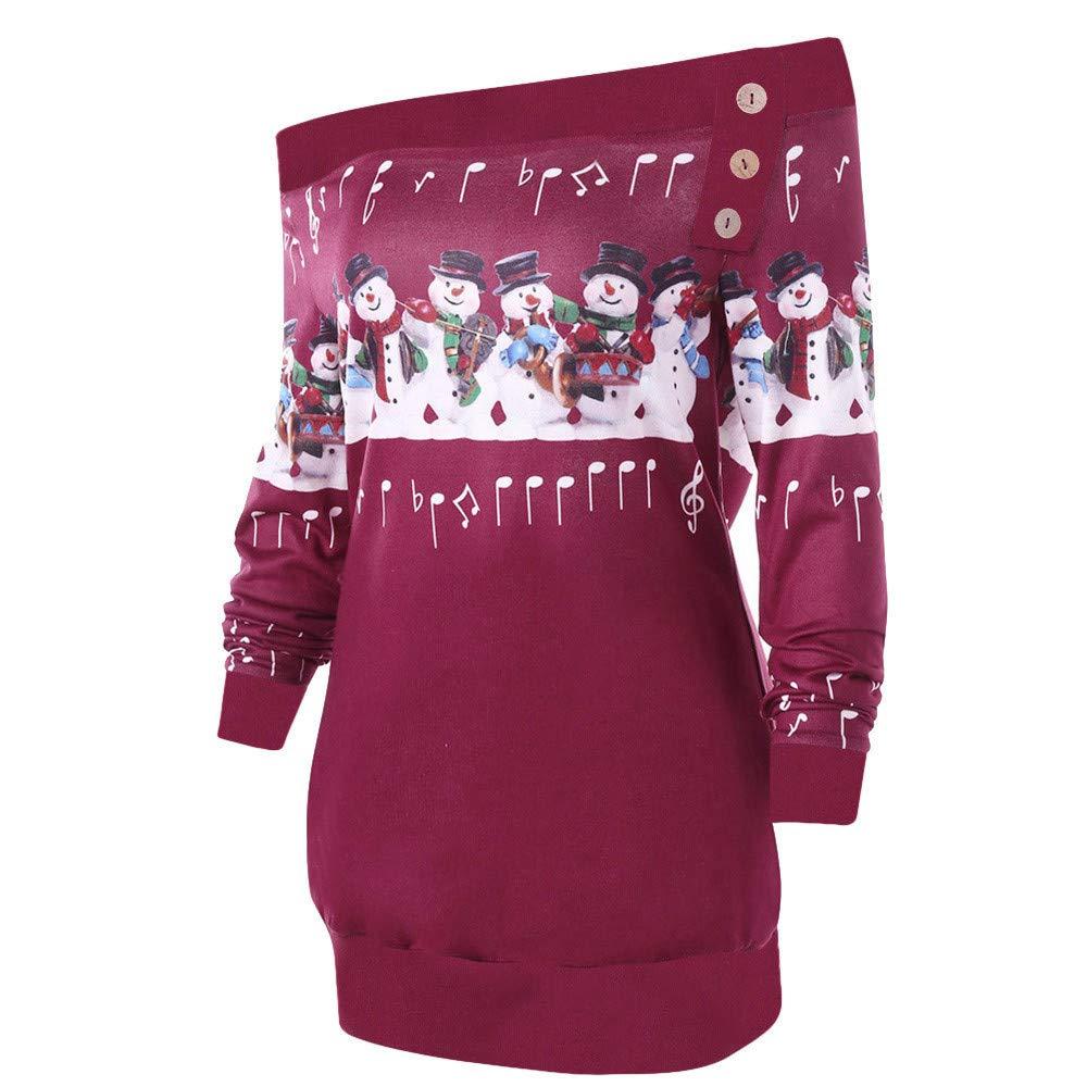 Amazon.com: Gift Ideas! Teresamoon Womens Merry Christmas Plus Size Pullover Deer Elk Printed Skew Neck Sweatshirt: Garden & Outdoor