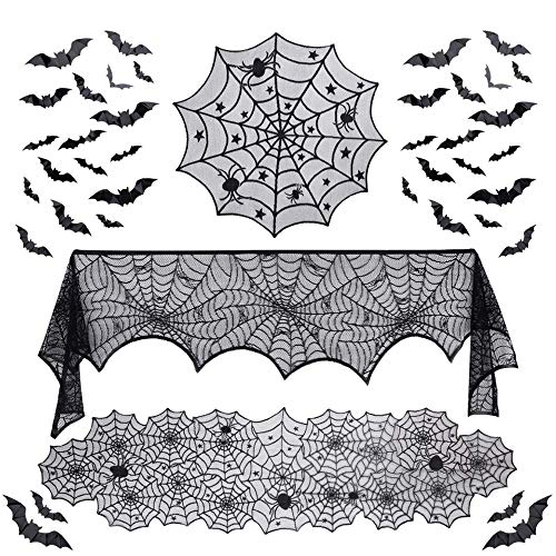 Diy Gothic Halloween Decorations (Winjoy 39 Pcs Halloween Decorations Indoor-Include Lace Spider Web Table Runner, Fireplace Mantel Scarf,Round Lace Table Cover, and 36 Pieces 3D Bats Wall Sticker Decal for Halloween Christmas)